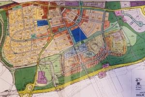 Urbanistická studie Dolní Počernice Jih - původní využití ploch a obslužné komunikace rodinné zástavby